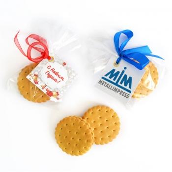 Круглое Печенье в Пакетике с Лого, 14 г