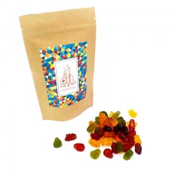 Мармеладные бегемотики с витаминами и Лого на Крафтовом пакете, 135 грамм