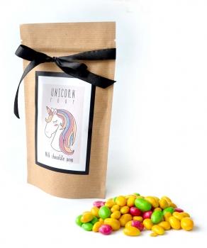 Арахис в цветной глазури с Лого на Крафтовом пакете, 135 грамм