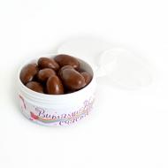 Миндаль в молочной шоко глазури с Лого на плоской Баночке, 56 грамм