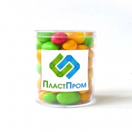Арахис в цветной глазури с Лого на прозрачной мини Баночке, 126 грамм