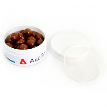 Арахис в молочной шоко глазури с Лого на плоской Баночке, 50 грамм